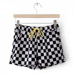 $8.00 Elegant Checkerboard Pattern Drawstring Shorts For Women