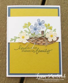 Basket of blooms Stampin Up Lyssa punch blossom bloom class tutorial techniques layout Stampin Up Catalog, Stamping Up Cards, Card Making Techniques, Quick Cards, Card Making Inspiration, Masculine Cards, Flower Cards, Greeting Cards Handmade, Paper Design