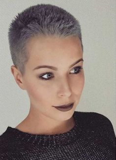 Wanna spice up your hair with a different hair color? We are here to show you These Days Most Popular Short Grey Hair Ideas that can inspire you to update. Short Grey Hair, Very Short Hair, Short Hair Styles, Long Hair, Super Short Hair Cuts, Short Cuts, Curly Hair, Buzz Cut Hairstyles, Short Hairstyles For Women