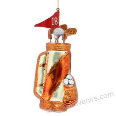 Golf Clubs and Bag Glass Ornament