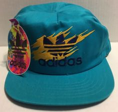 Adidas Fire Snapback Vintage Turquoise Yellow Cap New with Tags  Adidas  Cap  Adidas Cap 65f48a2051cd