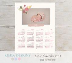 8x10in 2014 Calendar PSD Template vol2