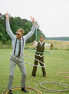 Hula hoops are a fun addition to any summer wedding.