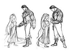 """disneydayandnight:  """" Tangled concept art by Jin Kim - Rapunzel and Bastian/Bastion (original hero before being replaced by Flynn Rider/Eugene)  """""""