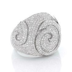 Luxurman Sterling Silver 1/10ct TDW Men's Swirl Diamond Ring
