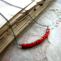 Coral necklace sterling silver red Italian coral by noblegnome, $38.00