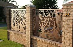 Edgeworkshop Perth showcase an exclusive range of water jet cut fence and gate panels custom made to size in your choice of material and finish. Tor Design, Gate Design, Garden Fence Panels, Fence Gate, Metal Screen, Metal Fence, Fancy Fence, Modern Fence Design, Compound Wall