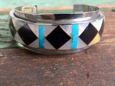 Vintage Silvertone cuff bracelet Inlaid pearl Shell Turquoise Onyx Southwestern Boho Style by Holliezhobbiez on Etsy