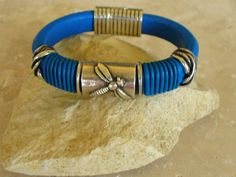 Items similar to Electric Blue Regaliz Leather Bracelet with Dragonfly Focal, Handwrapped Leather Accents and Magnetic Clasp on Etsy Wire Wrapped Jewelry, Wire Jewelry, Jewelery, Unique Jewelry, Thread Bracelets, Cuff Bracelets, Leather Braces, Beaded Cuff Bracelet, Bohemian Bracelets