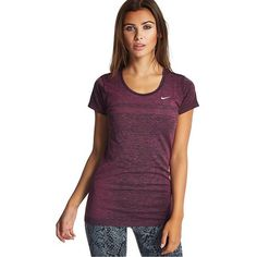 Nike Dri Fit Knit T-Shirt ($72) ❤ liked on Polyvore featuring activewear, activewear tops, vivid pink, sweat wicking shirt, pink shirts, nike, lightweight shirt and wicking shirts