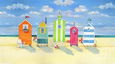 Brighton Beach Huts Art Print by Paul Brent. All prints are professionally printed, packaged, and shipped within 3 - 4 business days. Beach Huts Art, Beach Art, Beach Huts For Sale, Ocean Beach, Beach Cottage Style, Beach Cottage Decor, Canvas Wall Art, Wall Art Prints, Canvas Prints