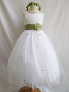 Flower Girl Dress WHITE/Green Sage RB3 Wedding by NollaCollection, $29.99