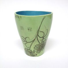 Hand Etched Spring Green Tumbler by DianaFaytCeramics on Etsy, $74.00