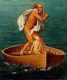 """Albrecht Altdorfer """"Un passeur effrayant monte la garde près de ces flots mouvants, Charon, sale, hérissé, terrible ; des poils blancs foisonnent incultes sur son menton, ses yeux fixes sont de flamme ; un manteau sordide est noué sur ses épaules et pend."""" Virgile, l'Enéide, 6, 298-301."""