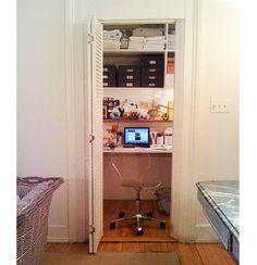 10 Offices Converted From Closets: Decorator Rita Konig turned one of her closets into a tucked-away office. You can read about how she did it here.  Source