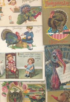 Nice-Lot-of-21-Antique-Thanksgiving-Turkeys-Holiday-1900s-Postcards-ppp979