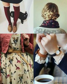 Minus the knee high socks, i think this outfit is adorable. L'armadio del delitto: 5 buoni motivi per amare l'autunno Looks Vintage, Mode Outfits, Fall Outfits, Estilo Gamine, Pretty Outfits, Beautiful Outfits, Look Fashion, Winter Fashion, Fashion Women