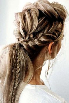 Prom Hairstyles For Long Hair, Braided Ponytail Hairstyles, Elegant Hairstyles, Easy Hairstyles, Braid Ponytail, Halloween Hairstyles, Formal Hairstyles, School Hairstyles, Hairstyles Videos