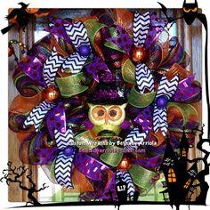 Custom halloween owl witch chevron deco mesh wreath