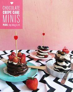 Chocolate Crepe Cake Minis // take a megabite