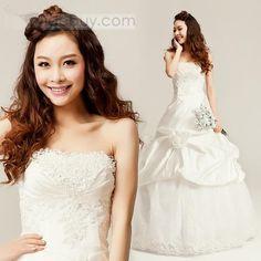 Attractive A-Line Floor-length Fall Flowers Wedding Dress