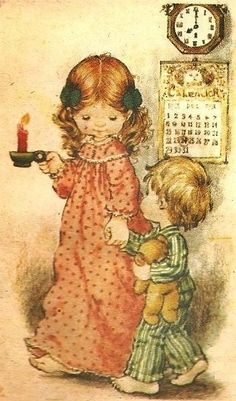 Vintage Sarah Kay illustration. Brother and sister Christmas Eve.