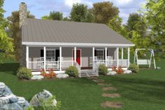 Cottage Style House Plan - 2 Beds 1.5 Baths 954 Sq/Ft Plan #56-547 Exterior - Front Elevation - Houseplans.com