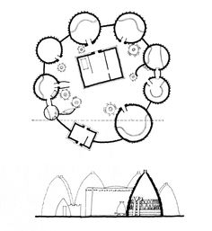 The Musgum, Schematic Plan and Section of a Family Enclosure, Cameroon