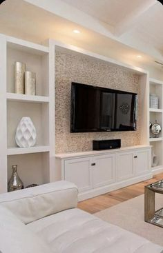 Living Room Wall Units, Home Living Room, Living Room Designs, Living Room Decor With Tv, Living Room Built Ins, Tv Stand Ideas For Living Room, Family Room Design With Tv, Living Area, Living Room Bookcase