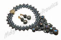 Naszyjnik z koralików i szklanych kryształków Necklace with glass beads and crystals #naszyjniki #koraliki # biżuteria #jewelry #necklace #beads