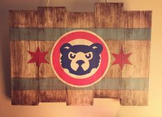 Chicago Cubs Wood Flag Hand Painted Stained by DiamondEyesChicago