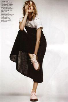 90s redux: slip dress, tee, docs white sheet in the background