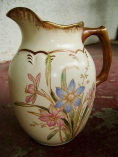 Antique Pitcher Blue and Pink Floral by FrontPorchArtVintage, $55.00