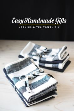 EASY HOMEMADE GIFTS: MITERED NAPKINS & TEA TOWEL DIY