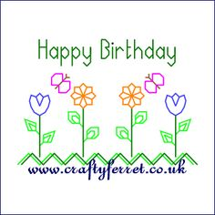 Free stitching on card happy birthday embroidery pattern from www.craftyferret.co.uk