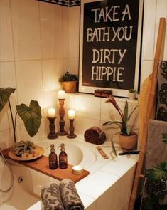 Take a bath you dirty hippie! This is the best boho bathroom I've seen! Take a bath you dirty hippie! This is the best boho bathroom I've seen! Bohemian Bathroom, Diy Bathroom Decor, Bathroom Art, Small Bathroom, Antique Bathroom Decor, Bohemian Kitchen Decor, Bohemian Wall Decor, Bathroom Plants, Bathroom Designs