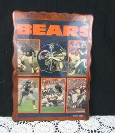Vintage Handmade NFL Chicago Bears Wood Decoupage Poster Wall Clock 21