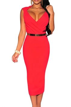 Red Faux Wrap Belted Fashion Midi Dress - OASAP.com