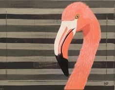 """Whimsical Bird Series 14""""x11"""":  Flamingo, Bald Eagle, Crane by MommyPatten on Etsy"""