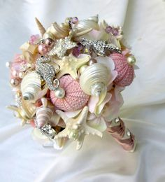 Pink Sea Shell wedding bouquet, Blush Bridal Bouquet, Bridal Brooch Bouquet.Seashell Bouquet,~ for Josephina