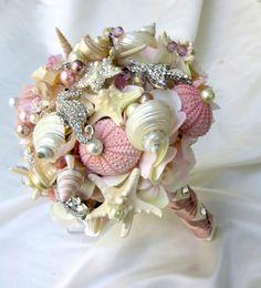 Pink Sea Shell wedding bouquet, Blush Bridal Bouquet, Bridal Brooch Bouquet.Seashell Bouquet,~ for Josephina