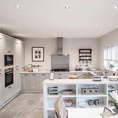 Welovenew a great kitchen from redrow with spacious areas and great storage Kitchen Family Rooms, Big Kitchen, Open Plan Kitchen, Home Decor Kitchen, Kitchen Interior, Home Kitchens, Kitchen Design, Kitchen Ideas, Council House Renovation