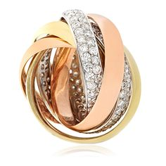 14 Carat Rose, White and Yellow Gold russian wedding band with diamonds