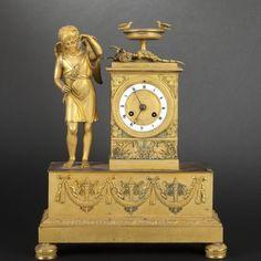 Gilt bronze mantle clock, Restoration Period #expertissim