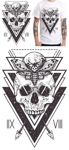 Vector boho design of skull with hawk moth and sacred geometric elements, arrows, hipster triangles, mystical symbols. Tattoo styl