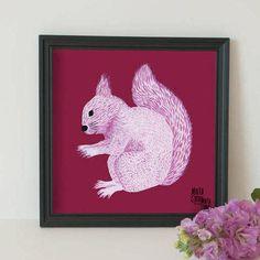 Lámina ardilla, en rosado, exclusiva de la  Colección Retrats Bestials, de Marta Comas Illustration de MartaComasIlustratio en Etsy