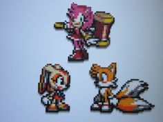 Tails, Amy, and Cream - Sonic perler bead sprites by on deviantART Hama Beads, Fuse Beads, Pokemon, Sonic The Hedgehog, Perler Bead Mario, Minecraft Pixel Art, Beaded Cross Stitch, Perler Patterns, 3d Prints