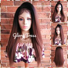 Kinky Straight Lace Front Wig, Wigs, African American Wig, Ombre Auburn Wig, Yaki Straight Wig, Free Parting, ON SALE // INDEPENDENT All Hairstyles, Straight Lace Front Wigs, Half Wigs, Auburn Hair, African American Hairstyles, Remy Human Hair, Kinky, Ponytail, Free Front
