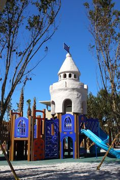 Great fun for the kids at the beach - the new Castle playground at Siesta Beach on Siesta Key, Florida (Sarasota).