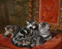 Горацио Генри Couldery (1832-1893) - Кошка с тремя котятами
